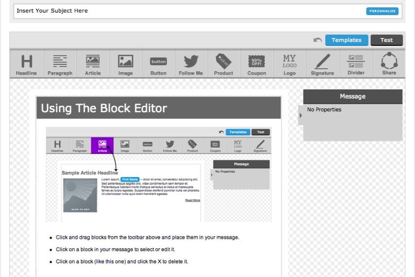 aweber block editor template