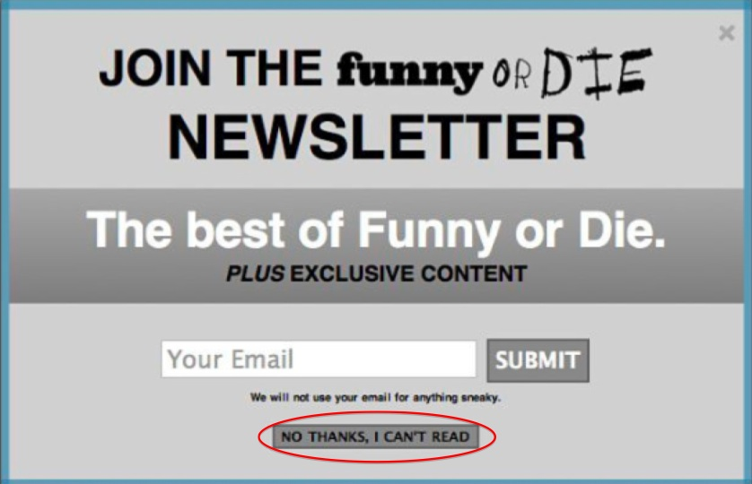 funny or die newsletter sign up form