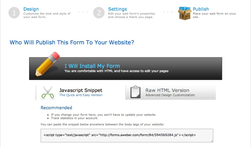 screenshot java script aweber form code