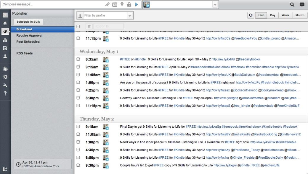 hootsuite tweet scheduler screenshot